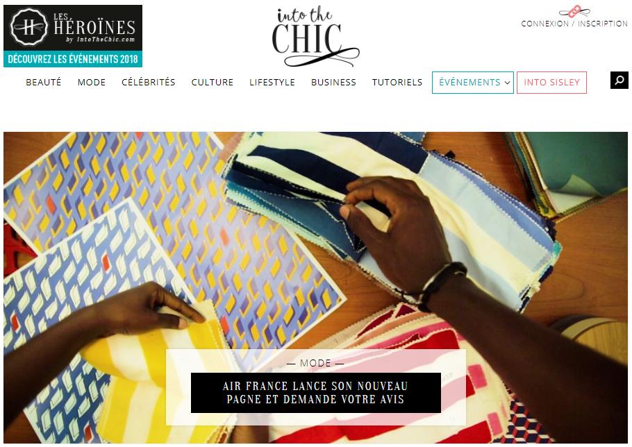 """Page web de webzine """"Into The Chic"""""""