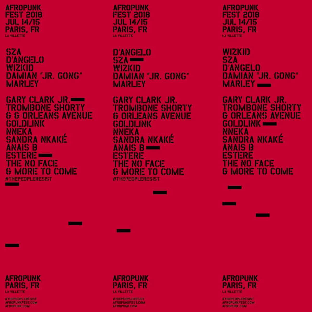 Afropunk Fest 2018 Paris - Lineups